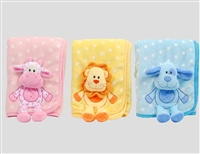 "38"" 3D ANIMALS PLUSH  BABY BLANKET (3)"