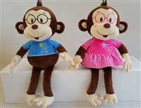 "11""SITTING, 18"" STANDING CAILYN & CAESAR MONKEY (2)"