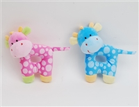 "5"" PINK AND BLUE GIRAFFE BABY RATTLE (2)"