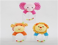 "5"" ANIMALS BABY RATTLE- LION/ELEPHANT/GIRAFFE (3)"