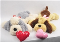 "20"" VALENTINE LAYING PUPS W/HEART (2) <b class='icon-coming-soon'></b>"