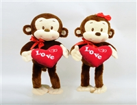 "8"" PACO AND PAULA VALENTINE MONKEYS WITH ""LOVE"" HEART (2)"