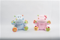 "10"" BLUE AND PINK HIPPO ACTIVITY TOYS(2)"