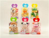 "6"" COLORFUL ANIMALS W/RIBBON AND PVC BOX  (6)"