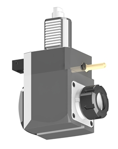 VDI 40, Angular Tool Holder, Duplomatic DIN 1809 Coupling, No Internal Cooling, Inverted Rotation - Right, ER32