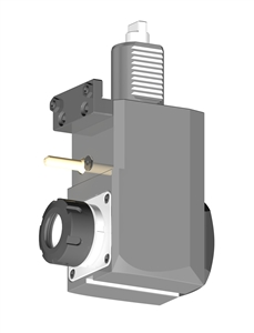 VDI 40, Angular Tool Holder, Duplomatic DIN 1809 Coupling, No Internal Cooling, Inverted Rotation - Left, ER32