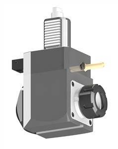 VDI 40, Angular Tool Holder, Duplomatic DIN 1809 Coupling, With Internal Cooling, Inverted Rotation - Right, ER32