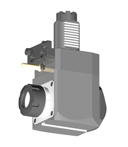 VDI 40, Angular Tool Holder, TOEM Coupling, With Internal Cooling, Inverted Rotation - Left/-, ER32