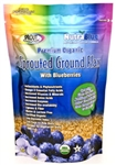 Golden organic sprouted flax seed powder with blueberries
