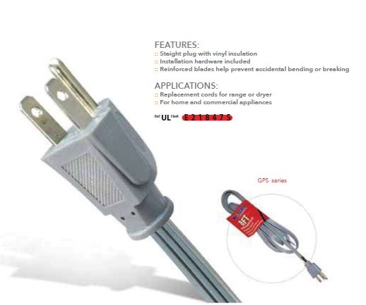6 foot, 120 volt cord with standard plug