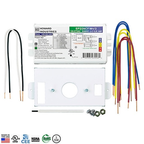 Howard EP2/42CF/MV/K2 2-Lamp 42W Compact Fluorescent Ballast