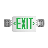 LED Exit Emergency Combo Green Letters White Thermoplastic Housing With Battery Backup