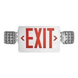 LED Exit Emergency Combo Red Letters White Thermoplastic Housing With Battery Backup