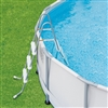 "36"" Gray and White Ladder with Barrier for Frame Pools"