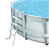 "42"" Gray and White Ladder without Barrier for Frame Pools"
