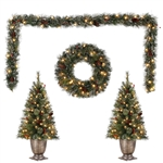 3.5 FT POTTED TREES (x2) WITH GARLAND and WREATH