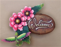 "Airbrushed Welcome plaque 14""h x 15""w x 5""d"