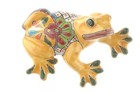 """Large Wall Frog - 7.75""""H x 5.50""""W (Yellow Body)"""