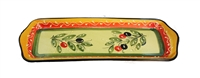 "Serving tray 14"" x 5.25"" olive design"