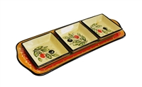 "Snack tray 14"" x 5.25"" olive design"