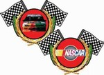 Lenticular applique with NASCAR race car, flip