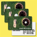 Lenticular business card with putter hits golf ball into hole, animation