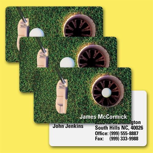 Lenticular business card golf ball goes into hole lantor ltd lenticular business card with putter hits golf ball into hole animation colourmoves