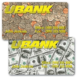 Lenticular business card with USA currency, dollars and coins, flip