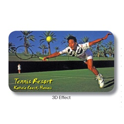 Lenticular business card with custom, tennis resort player dives to hit ball, animation