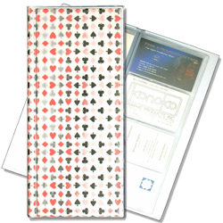 Lenticular business card file with playing cards with clubs, spades, diamonds, and hearts, color changing flip with