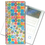 Lenticular business card file with cute flowers and circles, flip with