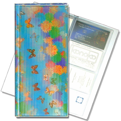 Lenticular business card file with cute spring flowers and butterflies, flip with