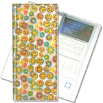 Lenticular business card file with cute yellow flowers and happy faces, flip with