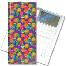 Lenticular business card file with multi colored smiley faces, depth
