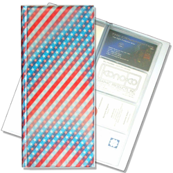 Lenticular business card file with USA flag, stars and stripes, color changing flip