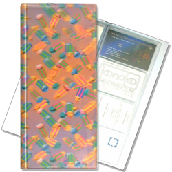 Lenticular business card file with multicolored pencils, depth
