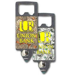 Lenticular bottle opener with USA money, dollars and coins, flip