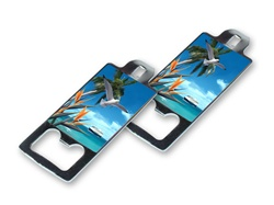 Lenticular bottle opener with custom tropical paradise palm trees, flip