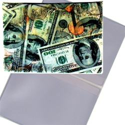 Lenticular business card holder with USA currency, dollars and coins, flip