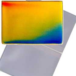 Lenticular business card holder with rainbow, color changing