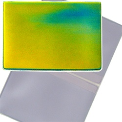 Lenticular business card holder with yellow, blue, and green, color changing with