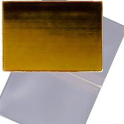 Lenticular business card holder with brown, yellow, and orange, color changing with