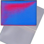 Lenticular business card holder, red and blue gradient, color changing