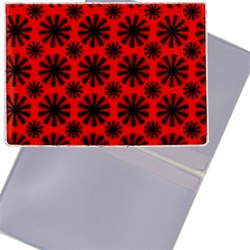 Lenticular business card holder with red spinning wheels on white background, animation