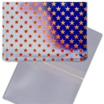 Lenticular business card holder with USA flag, stars and stripes, color changing flip