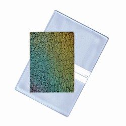 Lenticular business card holder with yellow, pink, and blue gradient, color changing with