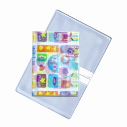 Lenticular business card holder with cute teddy bears, fish, and stars, flip with