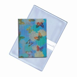 Lenticular business card holder with cute spring flowers and butterflies, flip with
