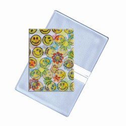 Lenticular business card holder with cute yellow flowers and happy faces, flip with