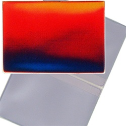 Lenticular business card holder with red, yellow, green, and black, color changing with